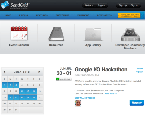 SendGrid Events Screenshot