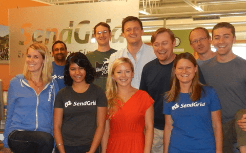 Monica (front in gray tee) and the SendGrid crew.