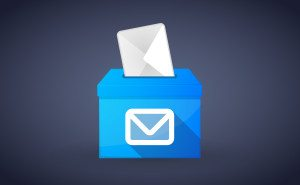 Illustration of a blue ballot box with an envelope