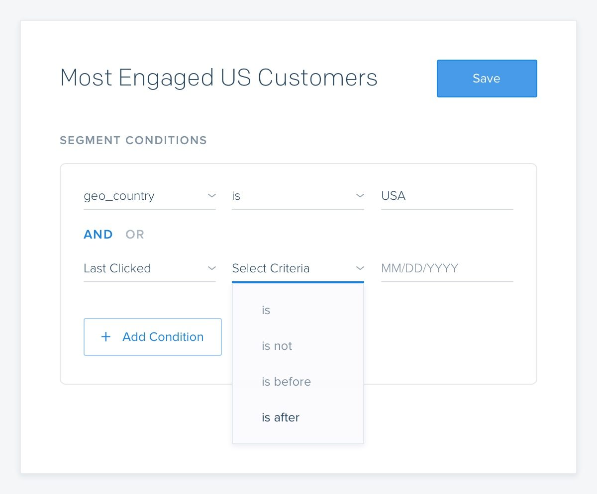 Screenshot of SendGrid's segmentation feature for marketing campaigns