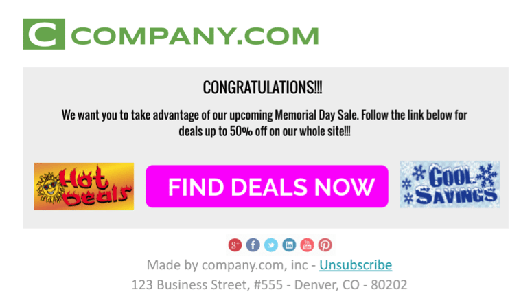 Marketing Email Message Example