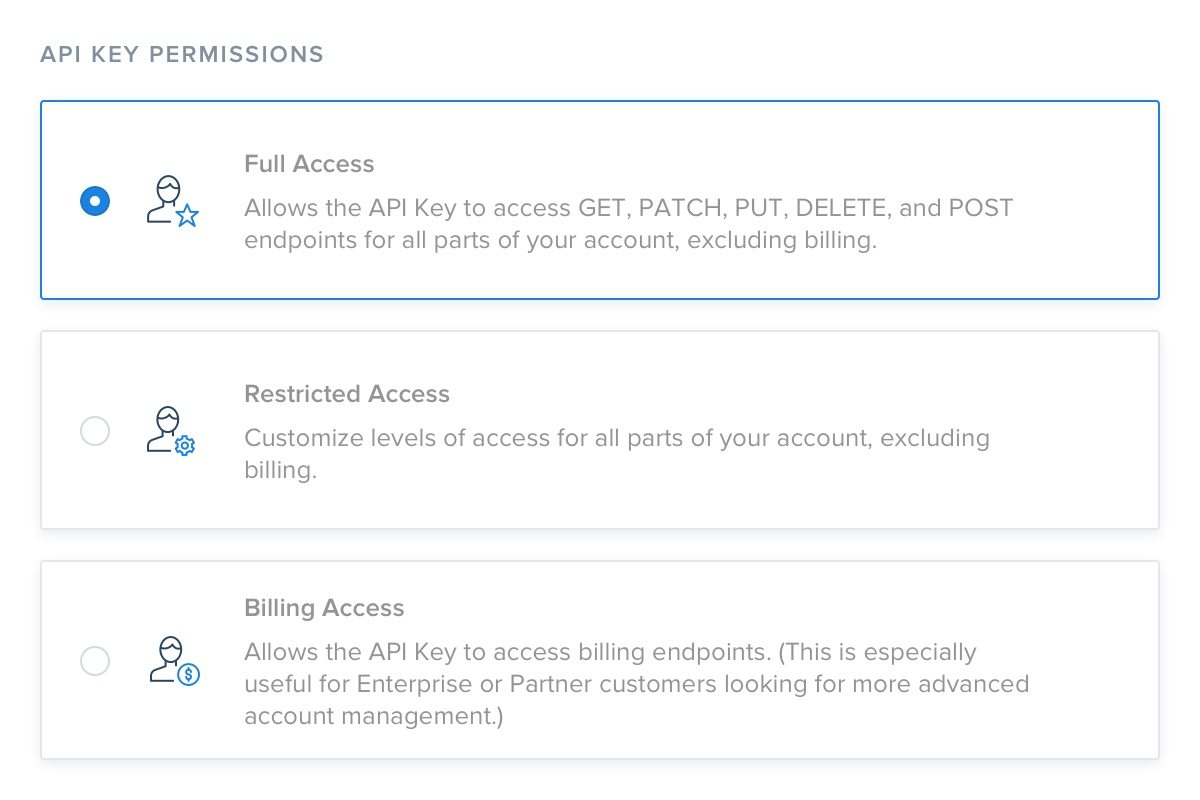 Screenshot of SendGrid's API key permissions feature