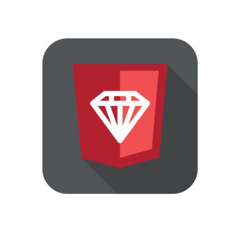 illustration of ruby programming language web development shield sign - ruby diamond. isolated simple flat red icon with long shadow on white background