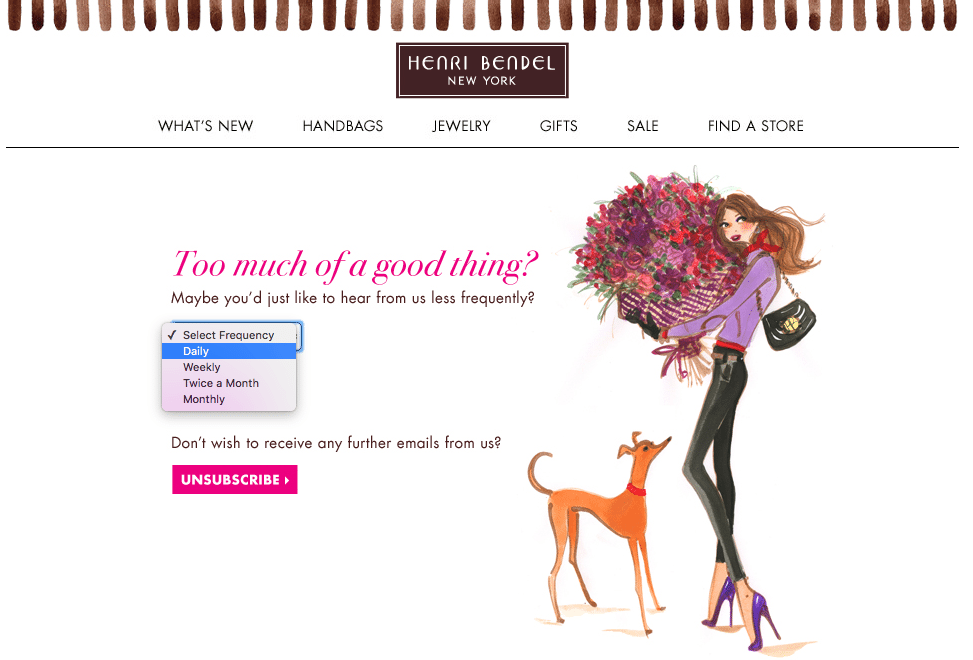 Henri Bendel Unsubscribe Example