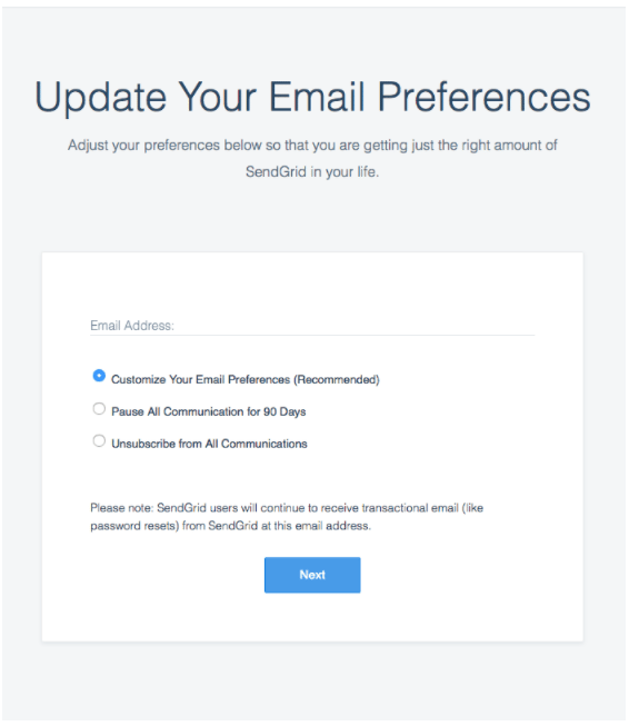 types of email preference centers