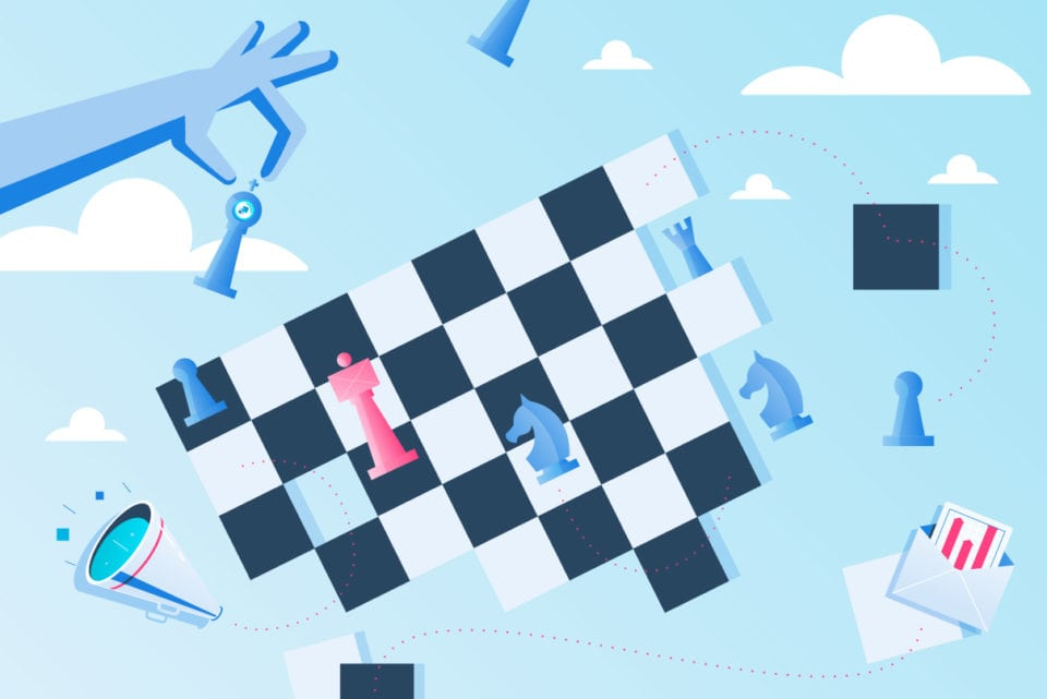 An illustration of email strategy as a game of chess