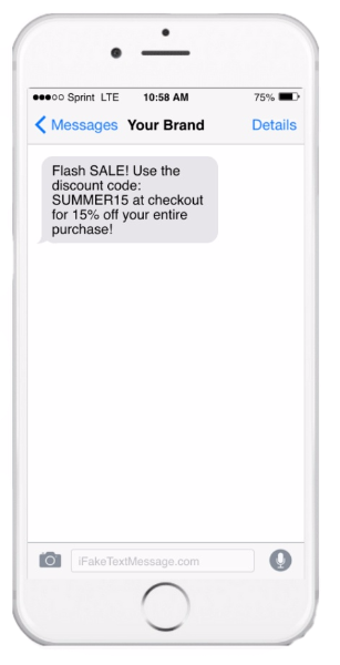 Flash sale SMS message on iPhone