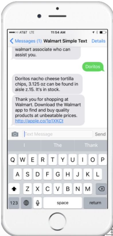 iPhone with Walmart promotional text message