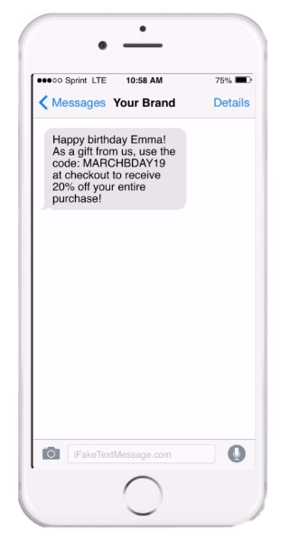 Birthday SMS message on iPhone