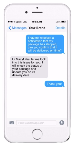 Customer service SMS message on iPhone