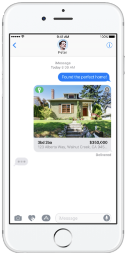 iPhone text message with Trulia