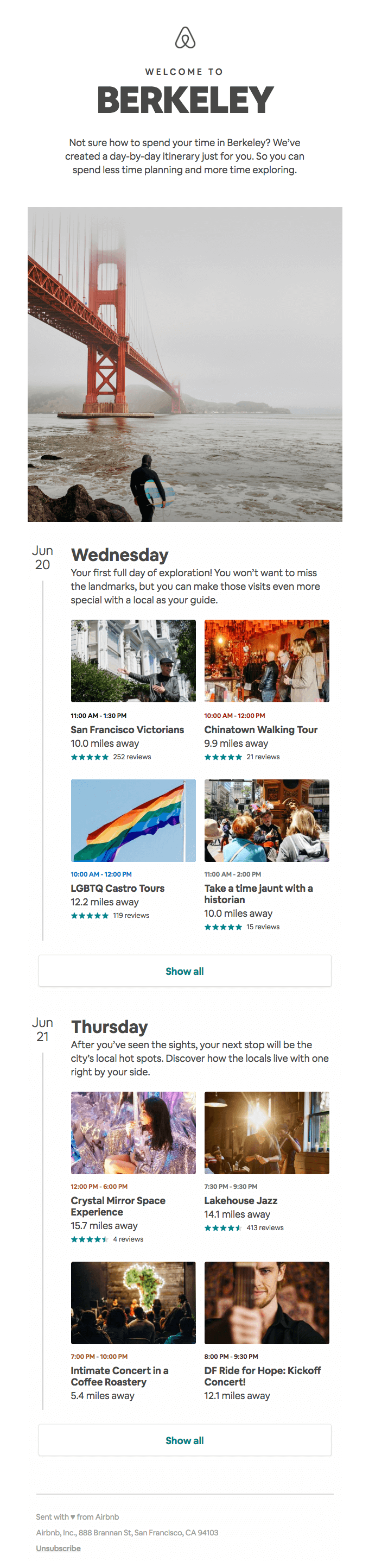 Email from Airbnb containing travel inspiration