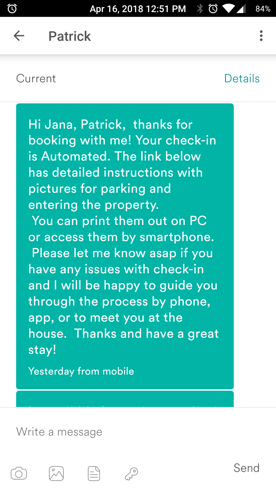 Airbnb SMS reservation confirmation text message