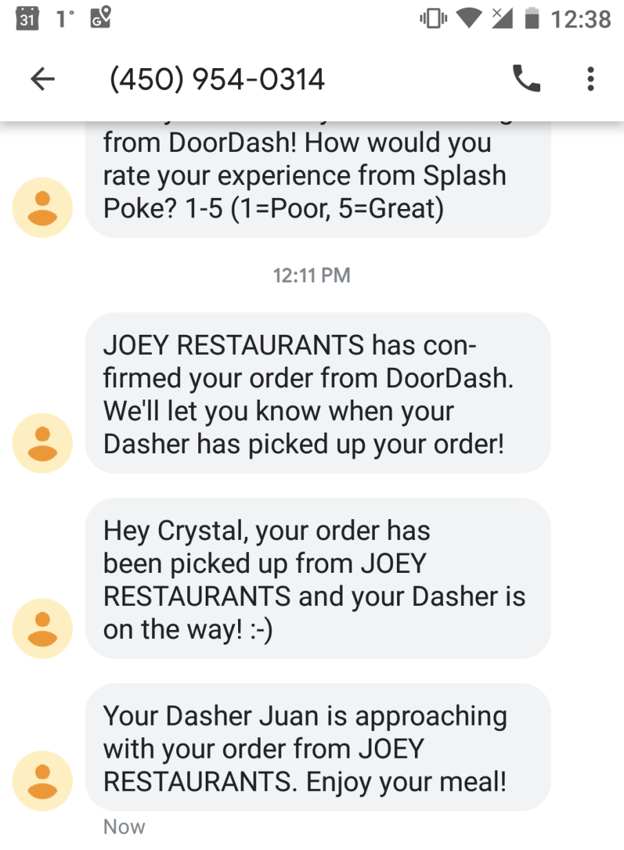 Doordash SMS notifications on Android phone