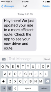 Lyft SMS notification on iPhone