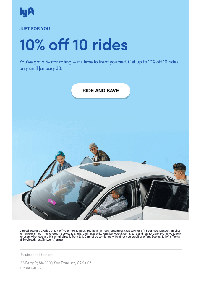 Lyft email marketing promotion