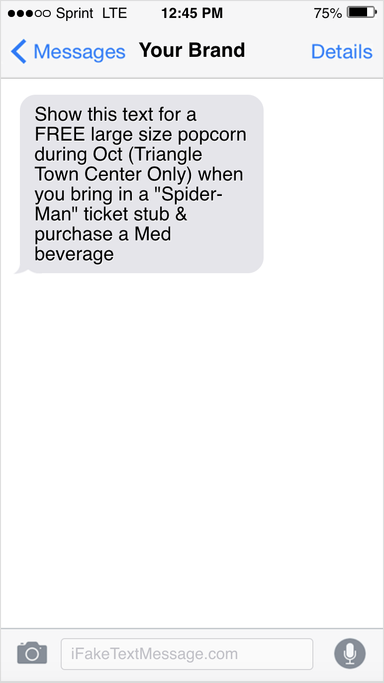 SMS promotion on iPhone