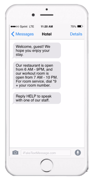 iMessage from hotel on iPhone