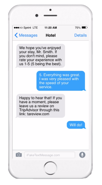 Customer feedback SMS message on iPhone
