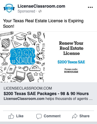 License Classroom Facebook display ad
