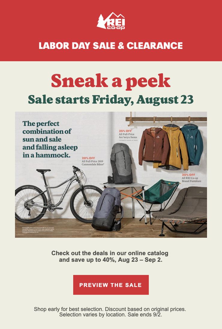 REI Labor Day email example