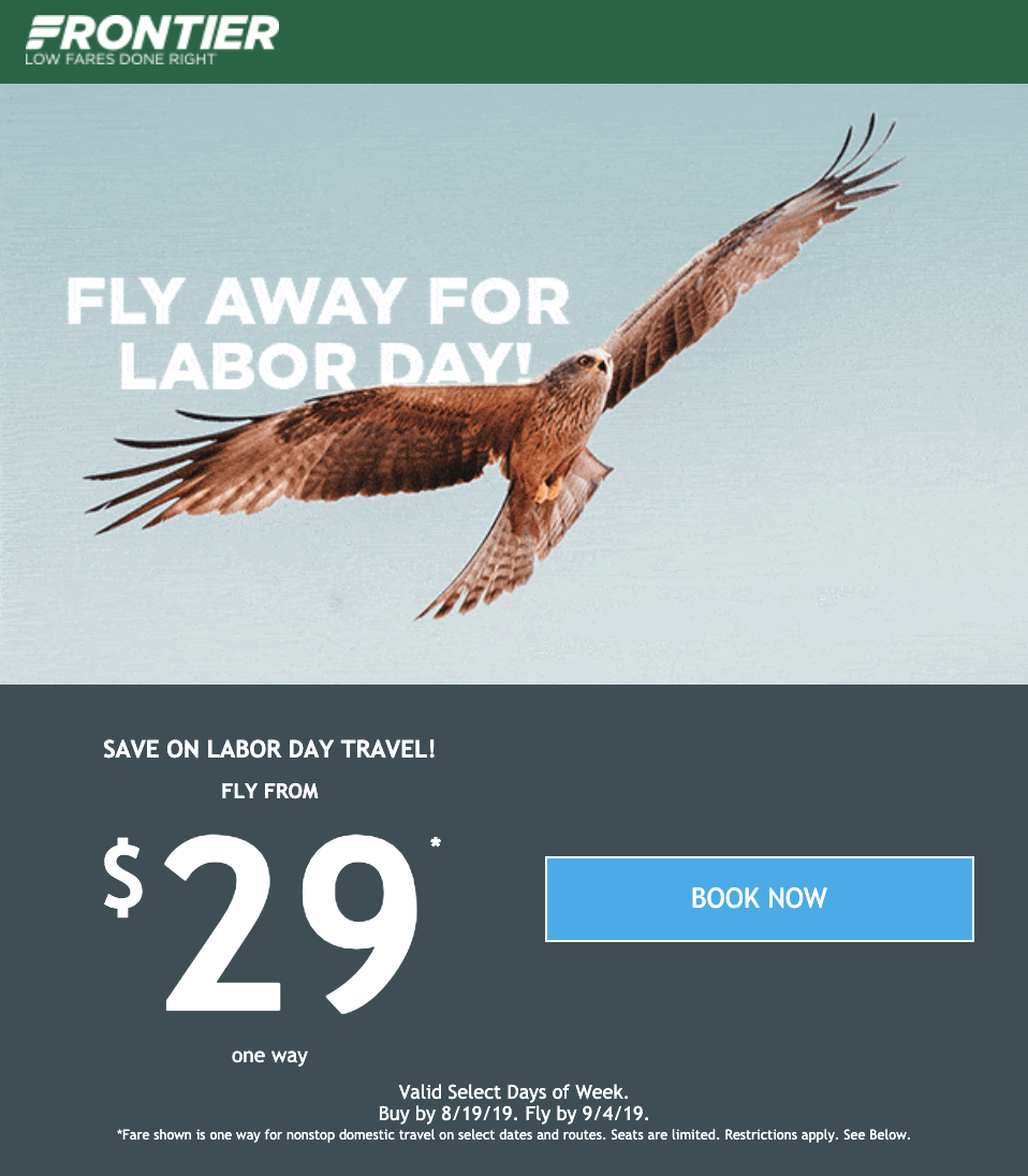 Frontier Airlines Labor Day email example