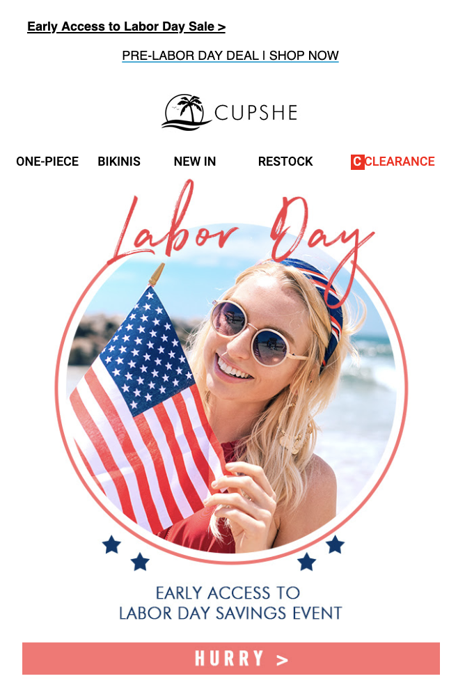 Cupshe Labor Day email example