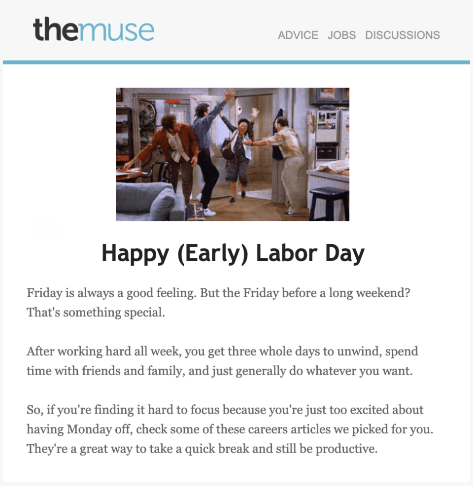 The Muse Labor Day email example