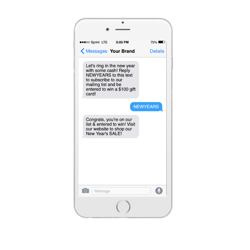 New Years holiday promotional text message on iPhone