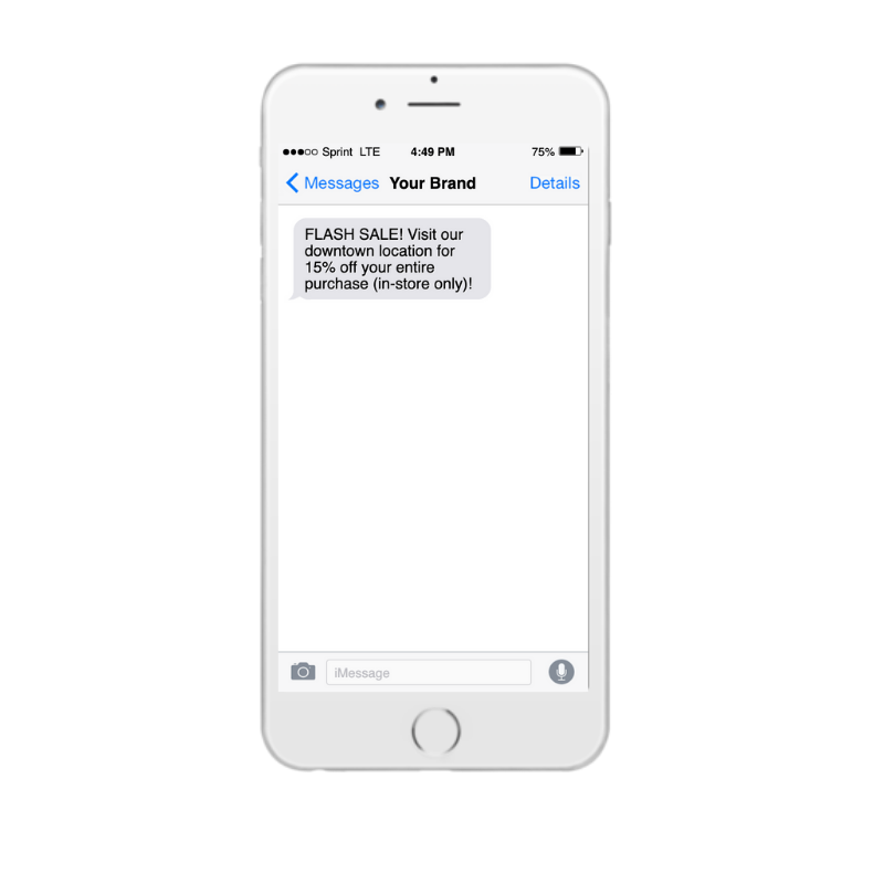 Holiday promotional SMS message on iPhone