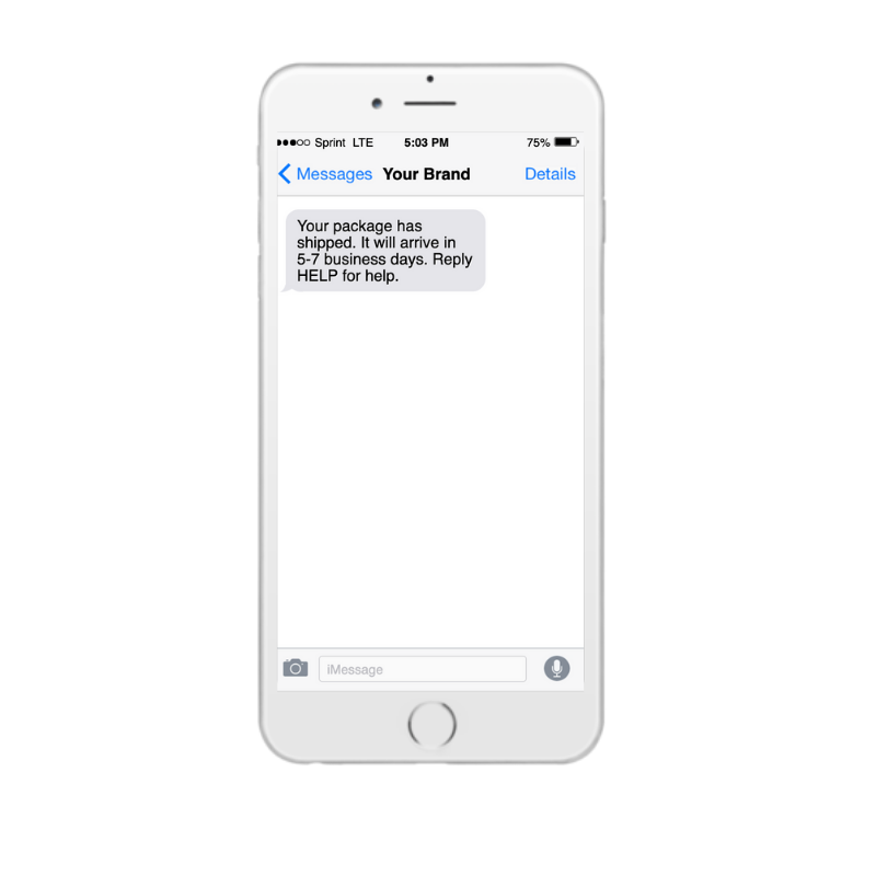 Tracking update text message on iPhone
