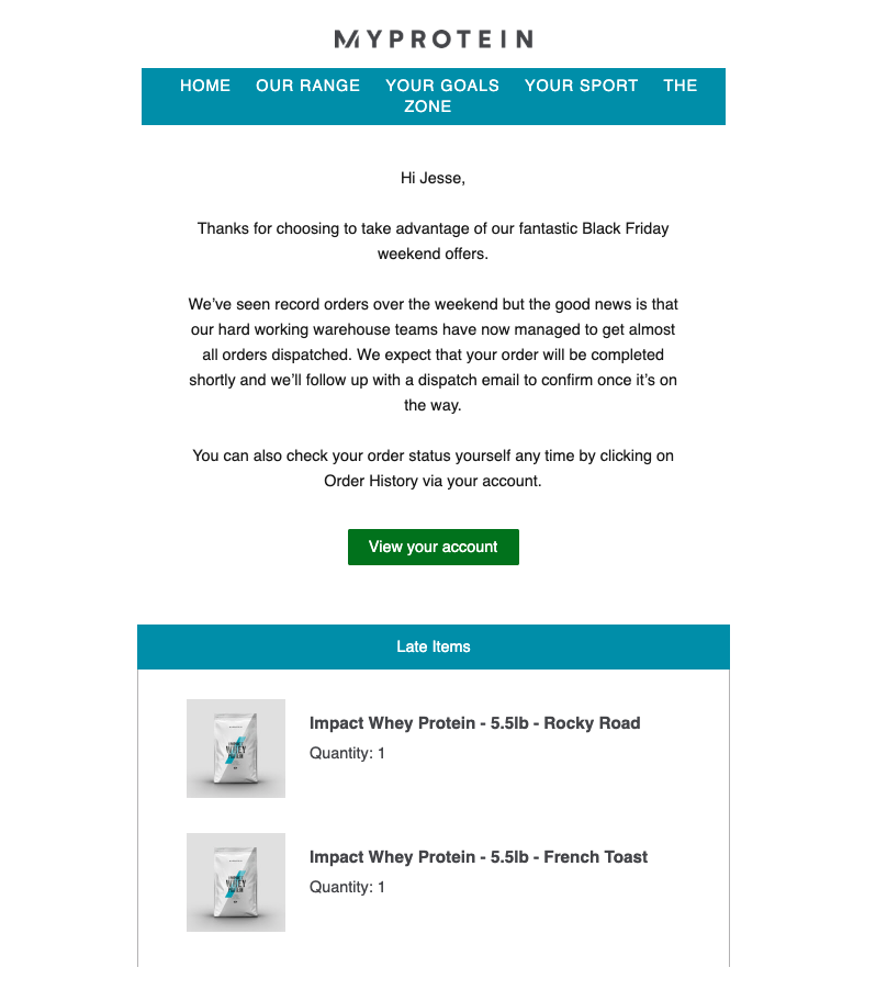 MyProtein Order Confirmation Email
