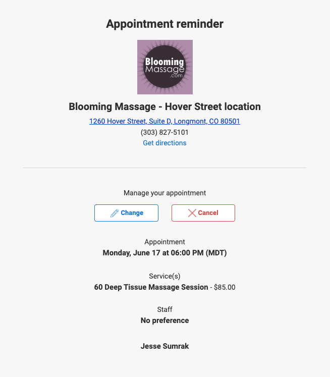 appointment confirmation email example