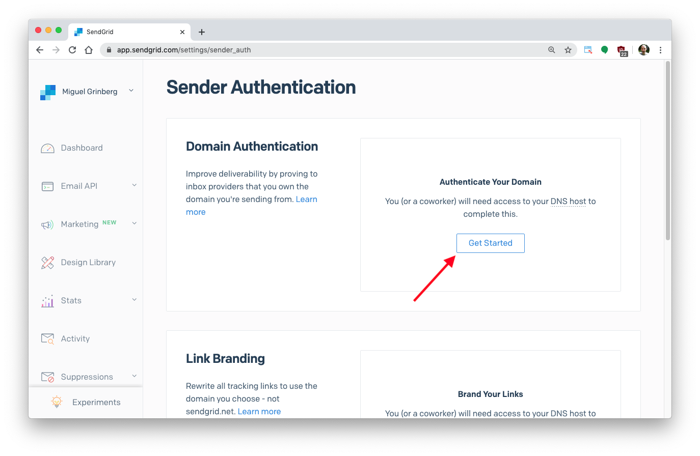 sender authentication page
