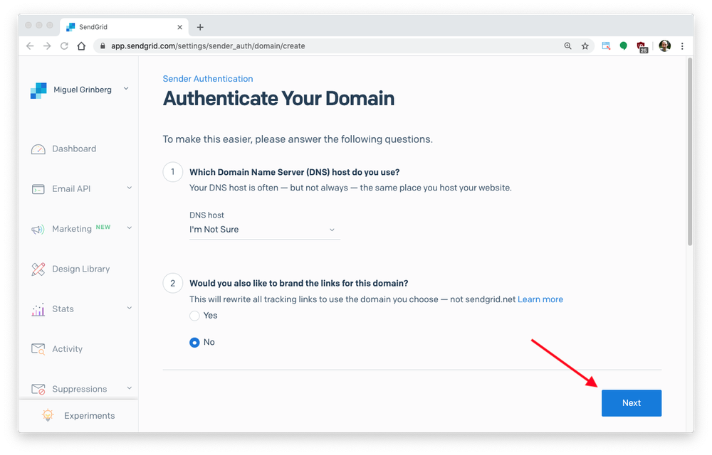 authenticate your domain page