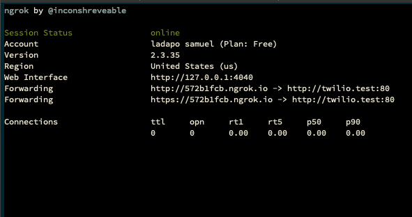 Terminal window displaying ngrok assigned to the active PHP server